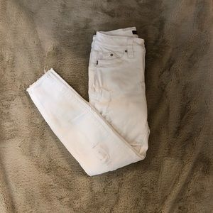 YMI White Distressed Skinny Jeans